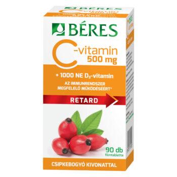 Béres Retard C-vitamin 500mg + D3-vitamin 1000NE filmtabletta – 90db