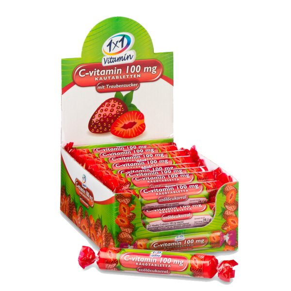 1x1 Vitamin C-vitamin epres szőlőcukor rágótabletta - 17db