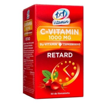 1×1 Vitaday Retard C+D C-vitamin 1000mg D3-vitamin 500NE + csipkebogyó tabletta – 50db