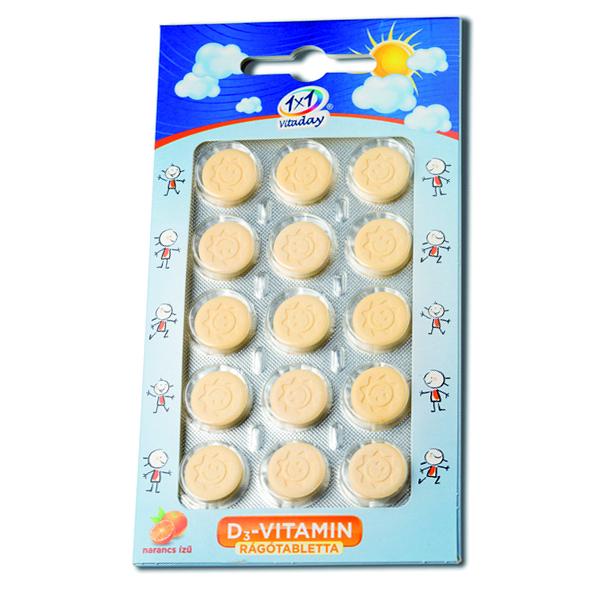 1x1 Vitamin D3-vitamin 400NE rágótabletta napocska - 15db