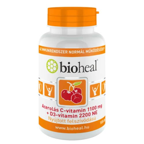 Bioheal Acerolás C+D C-vitamin 1100mg + D3-vitamin 2200NE kapszula - 105db