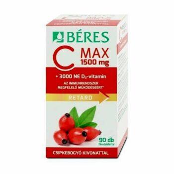 Béres C MAX RETARD C+D C-vitamin 1500mg + D3-vitamin 3000NE csipkebogyó kivonattal filmtabletta - 90db