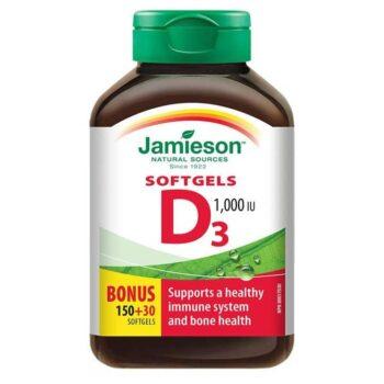 Jamieson D3-vitamin 1000IU lágyzselatin kapszula - 180db