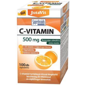 JutaVit C+D C-vitamin 500mg + D3-vitamin 2000NE + csipkebogyó kivonat narancs ízű rágótabletta - 100db