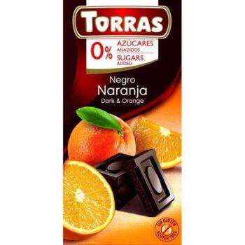 Torras Étcsokoládé narancsos - cukor- és gluténmentes - 75g