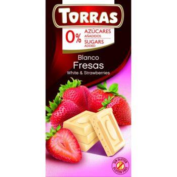 Torras Fehér csokoládé epres - cukor- és gluténmentes - 75g