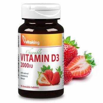 Vitaking D3-vitamin epres ízű rágótabletta - 90 db