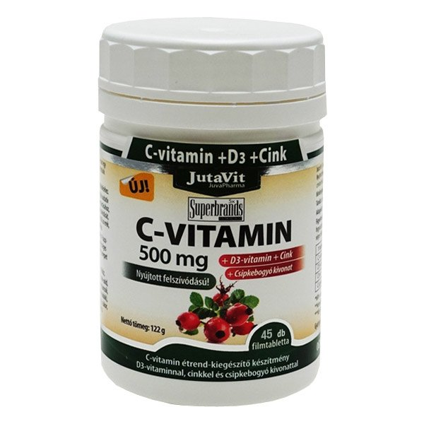 Jutavit C+D+Cink C-vitamin 500mg + D3-vitamin 400NE + csipkebogyó tabletta - 45db