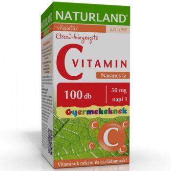 Naturland C-vitamin 50mg narancs ízű gyerek rágótabletta - 100db