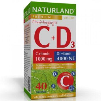 Naturland C+D C-vitamin 1000mg + D3-vitamin 4000NE Prémium tabletta – 40db