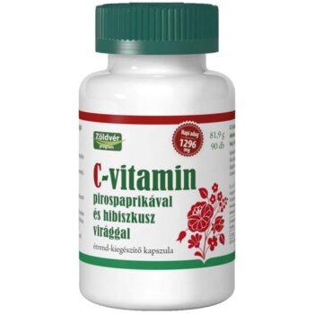 Zöldvér C-vitamin pirospaprikával és hibiszkusz virággal kapszula - 90db