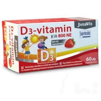 JutaVit D3-vitamin 800NE KID eper ízű rágótabletta - 60db